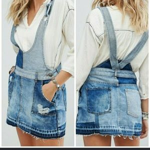 FREE PEOPLE Denim Patchwork Overall Dress 4